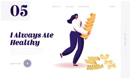 Carbohydrate Source Website Landing Page. Female Character Holding Pasta and Dry Macaroni of Various Kinds around. Italian Cuisine, Healthy Food Menu Web Page Banner. Cartoon Flat Vector Illustration