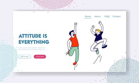 Happiness, Childhood and Freedom Website Landing Page. Happy Kids Jumping in Air. Schoolboys Rejoice