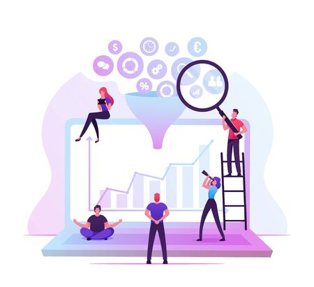 Businesspeople Working around of Huge Laptop with Different Business Icons Falling Down through Funnel. Creative Process, Big Data Filter, Analysis Tunnel Concept Cartoon Flat Vector Illustration