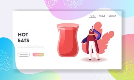 National Oriental Cuisine, Drinks and Food Website Landing Page. Woman in Turkish Costume Stand at Huge Glass with Traditional Tea in Turkey Restaurant Web Page Banner Cartoon Flat Vector Illustration