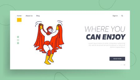 Talent Show Spectacle Website Landing Page. Schoolboy Wear Superhero Costume and Red Cloak Playing Role at Kids Theater Performance Acting on Scene Web Page Banner. Cartoon Flat Vector Illustration