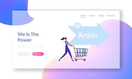 Action AIDA Step Website Landing Page. Happy Woman Buyer Pushing Shopping Cart. Attention Interest Desire Stages in Sales Funnel, Business Strategy Web Page Banner. Cartoon Flat Vector Illustration