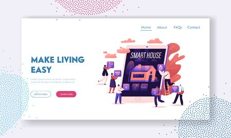 Smart House App Website Landing Page. People at Huge Tablet with Image of Building with Artificial Intelligence Technology on Screen Internet of Things Web Page Banner Cartoon Flat Vector Illustration