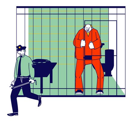 Prisoner in Prison Jail Concept. Policeman with Stick Passing by Man in Orange Jumpsuit Stand in Cell. Arrested Convict Male Character Standing Behind of Metal Bars. Cartoon Flat Vector Illustration