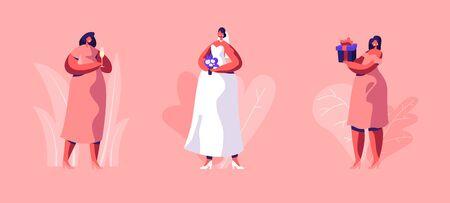 Insieme di nozze. Bella donna sposa in abito bianco con pizzo, velo e bouquet di fiori in mano e amiche con regalo e bicchiere di vino isolato su sfondo rosa. Cartoon piatto illustrazione vettoriale