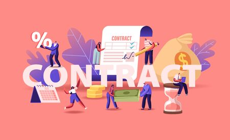 Business People Make a Deal Agreement, Checking and Signing Contract Concept. Man Put Signature on Paper Document with Check Marks Poster Banner Flyer Brochure. Cartoon Flat Vector Illustration Stock Illustratie
