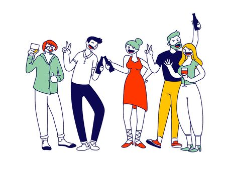 Group of Young Men and Women Holding Glasses and Bottles with Beverages Celebrating Holiday Drink Alcohol Cocktail and Communicating on Birthday Party or Festive Event Cartoon Flat Vector Illustration
