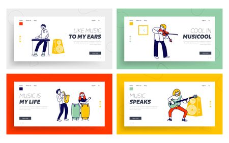 Kids in Music School Website Landing Page Set. Students Playing Popular Composition or Training before Concert Performance on Stage or Examination Web Page Banner. Cartoon Flat Vector Illustration