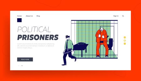 Prisoner in Prison Jail Website Landing Page. Policeman with Stick Passing by Arrested Man in Orange Jumpsuit Stand in Cell Behind of Metal Bars Web Page Banner. Cartoon Flat Vector Illustration Illustration