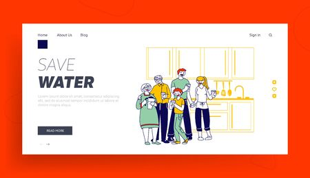 Healthy Lifestyle, People Thirsty Website Landing Page. Big Happy Family of Parents, Grandparents and Boy Stand with Water Glasses Drinking Pure Aqua Web Page Banner. Cartoon Flat Vector Illustration Ilustração