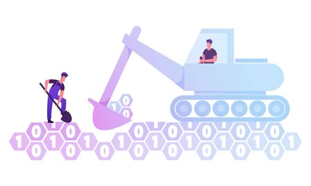 Couple of Workers with Spade and Excavator Digging Hole in Ground made of Binary Code Digits. Data Mining and Information Research Concept. Innovation Technology Cartoon Flat Vector Illustration Vectores