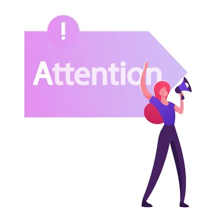 Woman Promoter Yelling to Megaphone front of Arrow Sign with Attention Typography. One of Step AIDA Model Except Interest Desire Action Stages in Business Marketing Cartoon Flat Vector Illustration