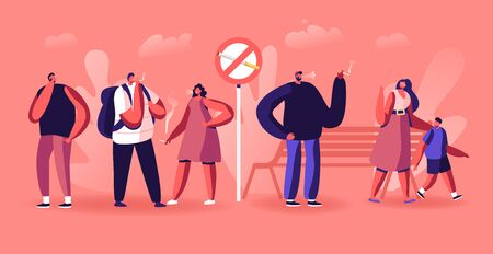 Smoking Addiction Concept. People Smoke Cigarettes in Public Place near Prohibited Sign in Park. Characters Have Bad Habit, Angry Woman with Child Admonish Smokers Cartoon Flat Vector Illustration