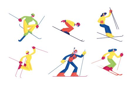 Set of Skiing Sport Activity Isolated on White Background. Male and Female Characters in Sports Wear Training, Take Part in Tournament, Competition. Winter Time Resort Cartoon Flat Vector Illustration