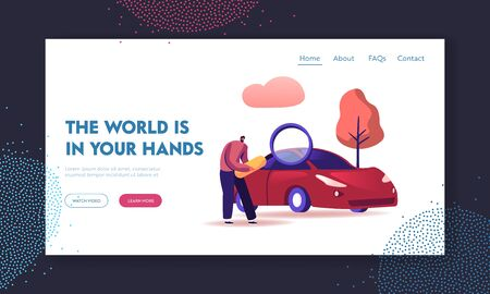 Transport Gasoline Service, Vehicle Purchase Website Landing Page. Man Looking on Car through Magnifying Glass, Consumer Choosing Auto for Buying Web Page Banner. Cartoon Flat Vector Illustration Illustration