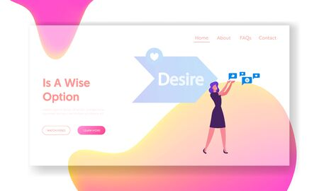 Step AIDA Model Website Landing Page. Woman Holding Social Media Icons front of Arrow with Desire Typography Part of Attention Interest Action Stages Web Page Banner. Cartoon Flat Vector Illustration