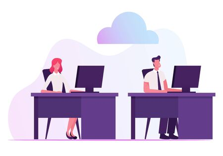 Businessman and Businesswoman Sitting at Desks Working on Computers Using Cloud System and Intranet or Internet Connection inside of Organization for Data Transfer Cartoon Flat Vector Illustration
