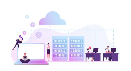 Intranet Private Network of Computers in Organization with Own Server and Firewall. Business Team Managers Characters Using Corporate Communication System in Office. Cartoon Flat Vector Illustration