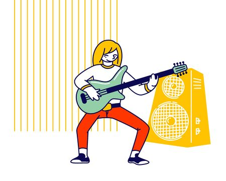 Girl Musician Practicing Playing Electric Guitar during Lesson in Musical School Prepare to Music Concert Performance on Scene as Soloist ar Instrumental Ensemble Cartoon Flat Vector Illustration