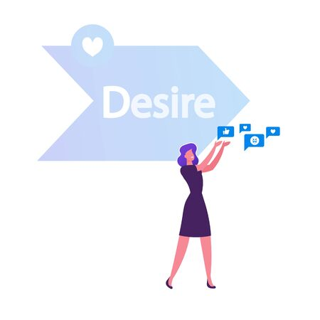 Woman Holding in Hands Various Social Media Icons front of Arrow with Desire Typography One of Step AIDA Model Except Attention Interest Action Stages in Advertising. Cartoon Flat Vector Illustration