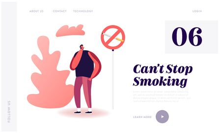 Unhealthy Bad Habit, Tobacco Addiction Website Landing Page. Man Close his Nose near Prohibited Sign with Cigarette. Passive Smoking in Public Place Web Page Banner. Cartoon Flat Vector Illustration