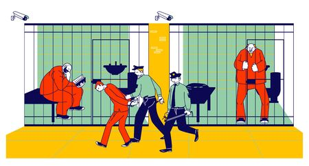 Prisoners in Prison Jail and Policemen. People in Orange Jumpsuits in Cell. Arrested Convict Men Stand Behind of Metal Bars. Life in Jailhouse. Police Indoors Interior Cartoon Flat Vector Illustration Illustration