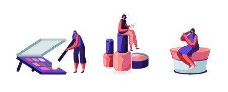 Set of Women Using Cosmetics. Girls Spend Time in Beautician Parlor. Female Characters Testing Make up Eye Shadows Palette, Nail Polish and Powder in Beauty Salon Cartoon Flat Vector Illustration
