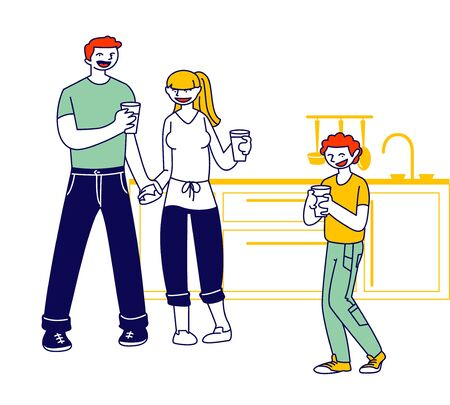 Happy Family of Mother, Father and Preteen Boy Holding Glasses on Kitchen. Healthy Habit and Lifestyle Concept. Young Parents and Kid Drinking Fresh Water at Home. Cartoon Flat Vector Illustration Illustration