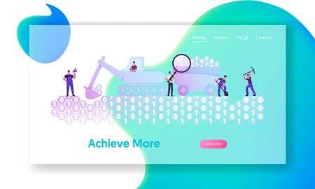 Data Mining Website Landing Page. Workers with Pickaxe, Spade and Excavator Digging Binary Code Ground under Management of Foreman. Machinery Research Web Page Banner. Cartoon Flat Vector Illustration