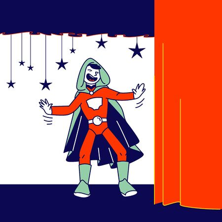 Kids Theater Performance or Talent Show Spectacle. Schoolboy Actor in Superhero Costume and Cloak with Hood Playing Role Acting on Scene with Decoration and Curtains. Cartoon Flat Vector Illustration Ilustrace