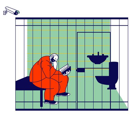 Life in Jailhouse. Arrested Convict Man Sitting in Cell with Sink and Toilet Behind of Metal Bars Reading Book. Prisoner in Prison Lifestyle Police Indoors Interior. Cartoon Flat Vector Illustration