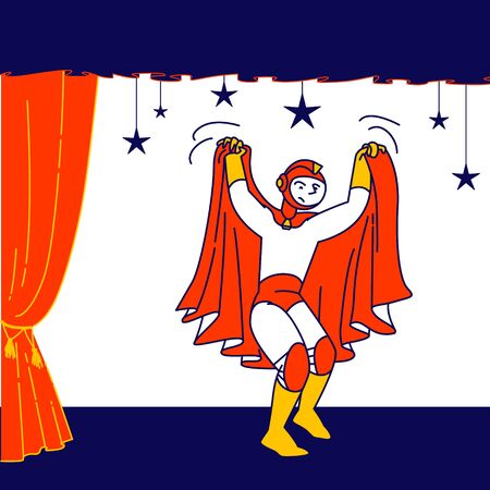Talent Show Spectacle. Schoolboy Wear Superhero Personage Costume and Red Cloak Playing Role at Kids Theater Performance Acting on Scene with Decoration and Backstage. Cartoon Flat Vector Illustration