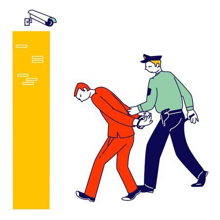 Arrest of Criminal in Police Station, Policeman Wearing Uniform Lead Suspect Bandit in Handcuffs to Cell, Man Officer Bringing New Prisoner to Jail. Cop Work in Prison Cartoon Flat Vector Illustration