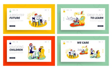 Logopedist Practicing with Kids Website Landing Page Set. Doctor Looking on Tongue of Little Baby with Dyslexia Problems, Exercise to Pronounce Sounds Web Page Banner. Cartoon Flat Vector Illustration