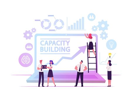 Capacity Building Concept. Team of Business People Working around of Huge Laptop with Growing Arrow on Screen and Data Analysis Icons around, Development Strategy Cartoon Flat Vector Illustration 向量圖像