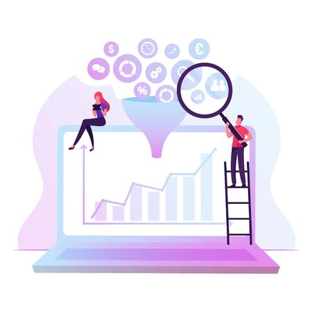 Businessman with Magnifier Glass and Businesswoman with Tablet Pc Sitting on Huge Laptop with Growing Graph on Screen and Big Data Icons Falling through Funnel Filter Cartoon Flat Vector Illustration 向量圖像