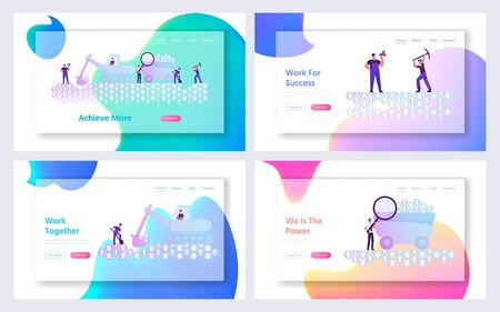 Data Mining, Informational Resource Research Website Landing Page Set. Workers Digging Binary Code with Spade, Pickaxe and Excavator, Datum Extraction Web Page Banner. Cartoon Flat Vector Illustration 일러스트