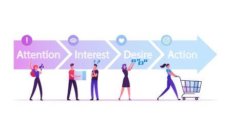 AIDA Model with 4 Stages of Sales Funnel in Attention, Interest, Desire and Action. Foundation Principles in Marketing and Advertising. Business Word with Team People Cartoon Flat Vector Illustration Vettoriali