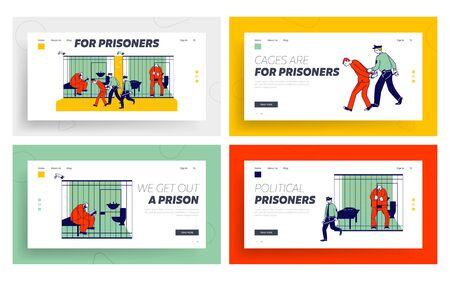 People in Jail Website Landing Page Set. Man Officer Bringing New Prisoner to Prison. Life in Jailhouse. Police Indoors Interior, Cops and Criminals Web Page Banner. Cartoon Flat Vector Illustration