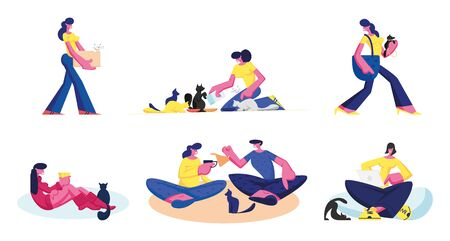 Set of People Spend Time with their Pets. Male and Female Characters Care of Cats and Dogs Isolated on White Background. Man and Woman Feeding, Playing with Animals Cartoon Flat Vector Illustration
