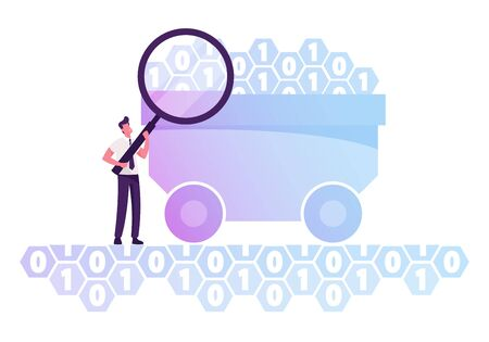Businessman with Huge Magnifying Glass Stand at Trolley with Binary Code Digits. Research of Useful Information in Datum. Data Mining Concept. Machine Coding Algorithm Cartoon Flat Vector Illustration 일러스트