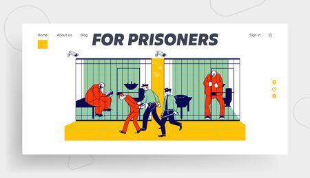 Prisoners in Prison Jail and Policemen Website Landing Page. People in Orange Jumpsuits in Cell. Arrested Convict Men Stand Behind of Metal Bars Web Page Banner. Cartoon Flat Vector Illustration