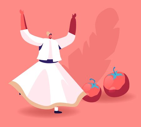 Swirling Dervish in White Wide Dress Dancing near Ripe Fresh Tomatoes. Concept of Oriental Turkish Cuisine, Foreign Country Culinary Culture, Taste of Eastern Food Cartoon Flat Vector Illustration  イラスト・ベクター素材