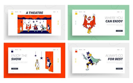 School or Talent Show Performance on Stage Website Landing Page Set. Kids Showing their Artistic Talents on Theater Scene with Decoration and Backstage Web Page Banner Cartoon Flat Vector Illustration