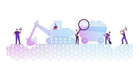 Data Mining Concept. Workers with Pickaxe, Spade and Excavator Digging Binary Code Ground under Management of Foreman. Useful Informational Resource Machinery Research Cartoon Flat Vector Illustration