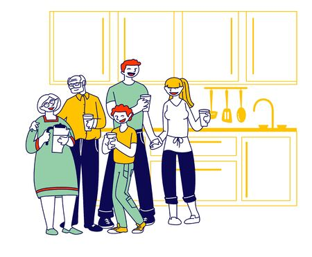 Big Happy Family of Parents, Grandparents and Preteen Boy Stand on Kitchen with Water Glasses Drinking Pure Aqua. Healthy Lifestyle, People Loving Relations, Thirsty Cartoon Flat Vector Illustration Ilustração