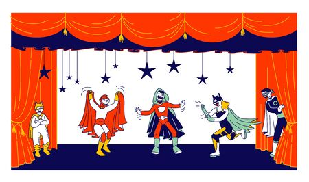 Children Actors in Super Hero Costumes Performing Fairy-Tale on Stage during Talent Show. Talented Schoolkids Ilustrace