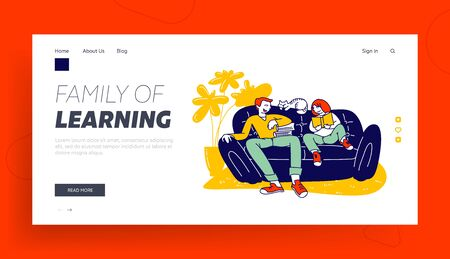 Education at Home, Homeschooling Website Landing Page. Tutor or Father and Schoolgirl Sitting on Couch, Girl Reading