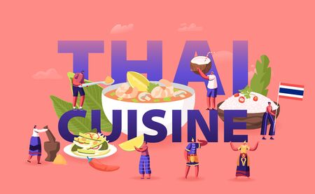 Thai Cuisine Concept. Tiny Male Female Characters Tourists and Native Dwellers Eating and Cooking Çizim