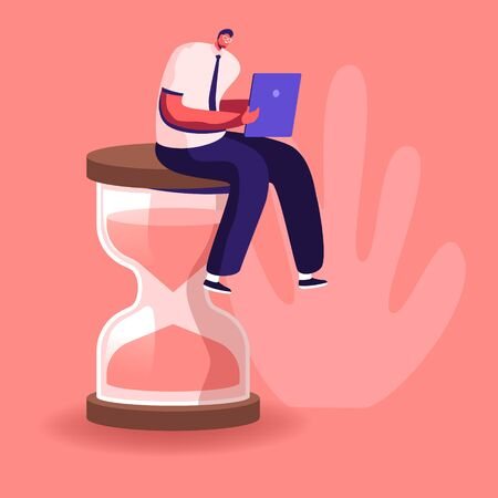 Procrastination in Business Process Concept. Businessman Sitting on Hourglass with Laptop in Hands. Time Management, Multitasking, Working Productivity Infographics Cartoon Flat Vector Illustration